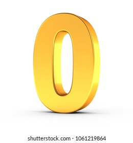 3D illustration of the number zero as a polished golden object over white background with clipping path for quick and accurate isolation.