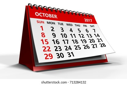 3d illustration of october 2017 calendar over white background with shadow