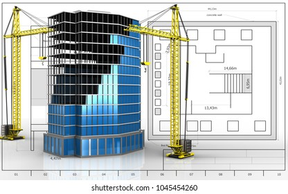 3d illustration of office building construction with crane over blueprint background