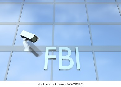 """3D illustration of office building with the script """"FBI"""" under a security camera"""