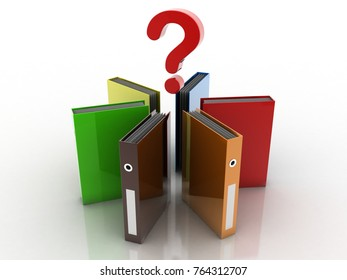 3D illustration office folders question mark