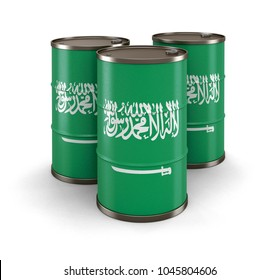 3d illustration. Oil barrel with flag of Saudi Arabia. Image with clipping path