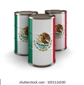 3d illustration. Oil barrel with flag of Mexico. Image with clipping path