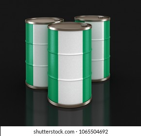 3d illustration. Oil barrel with flag of Nigeria. Image with clipping path