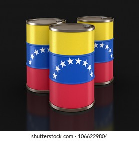 3d illustration. Oil barrel with flag of Venezuela. Image with clipping path