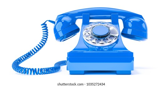 3d illustration of an old blue phone