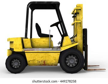 3d illustration of old forklift. icon for game web. white background isolated. industrial truck