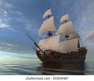 3D Illustration Old Sailboat On The Sea