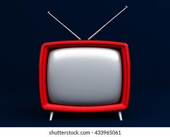 3D Illustration of old style red TV on dark background