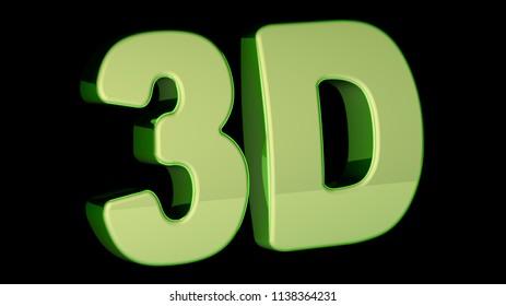 3D Illustration on black background.