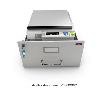 3d Illustration of open drawer with copy machine inside.