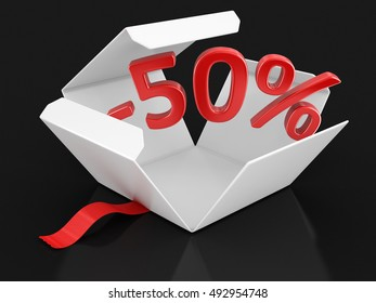 3D Illustration. Open package with -50%. Image with clipping path
