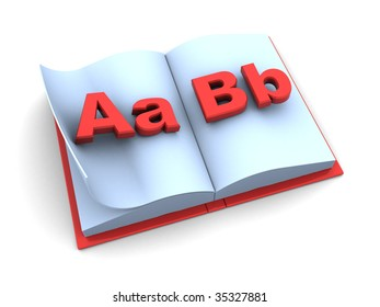 3d illustration of opened school book over white background