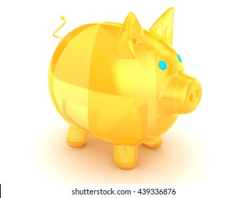 3d illustration of orange glass pig over white background