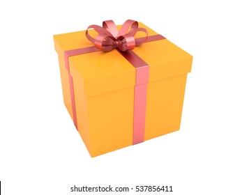 3d illustration of orange packaging for gifts with a red ribbon.