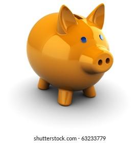 3d illustration of orange piggy bank over white background