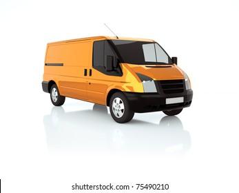 3d illustration of an orange van