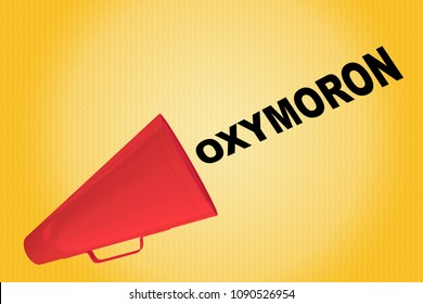 3D illustration of OXYMORON title flowing from a loudspeaker