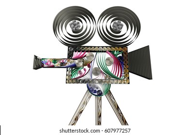 3D illustration of paper swirl movie camera isolated on white