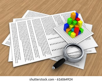 3d illustration of papers and graph over wood background