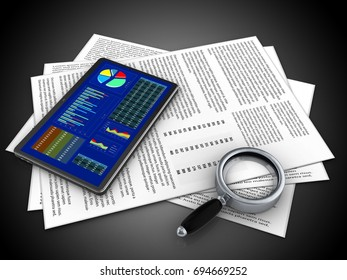 3d illustration of papers and tablet over black background