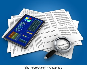 3d illustration of papers and tablet over blue background