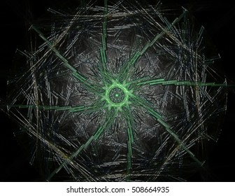 3D illustration particles of abstract fractal forms on the subject of nuclear physics science and graphic design. Geometry sacred futuristic quantum digital hologram texture.