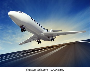3d illustration of a passenger plane fly up over take-off runway from airport