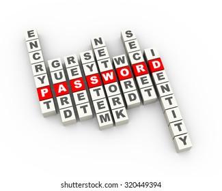 3d illustration of password concept crossword.