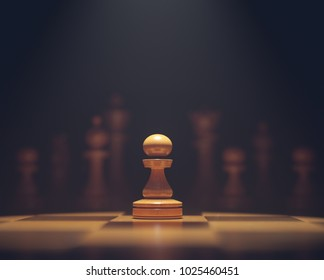 3D illustration. The pawn in highlight. Pieces of chess game, image with shallow depth of field.