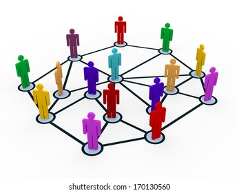 3d illustration of people connect with each each on network. Concept of global business communication.