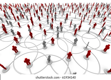 3D Illustration of people linked to a network.