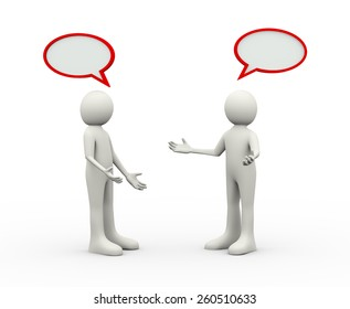 3d illustration of people talking and discussing. 3d human person character and white people