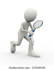 3d illustration of person searching with magnifying glass. 3d human person character and white people