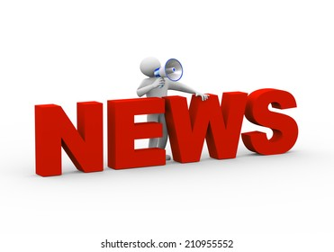 3d illustration of person standing with word news megaphone announcement. 3d human person character and white people