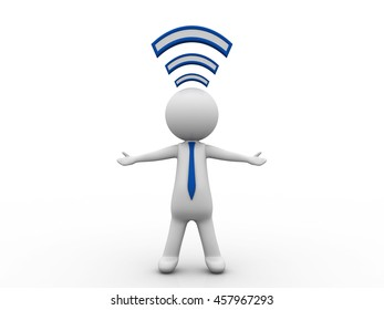 3d illustration of person and wifi icon