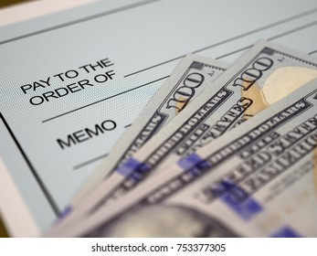 3d illustration. Personal Check and Dollars