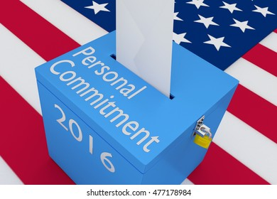 "3D illustration of ""Personal Commitment"", ""2016"" scripts and on ballot box, with US flag as a background."