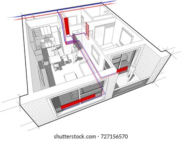 3d illustration apartment hot water radiator stock vector 715526272 3d illustration of perspective cutaway diagram of a one bedroom apartment completely furnished with hot water ccuart Gallery
