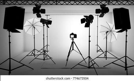 3D illustration of photo studio equipment setup