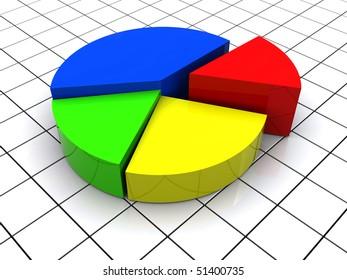 3d illustration of 3d pie chart over grid background