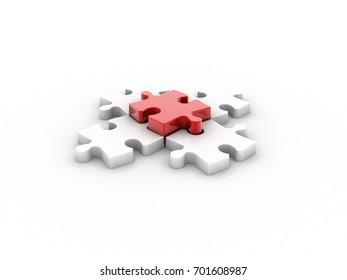 3d illustration Piece of puzzle