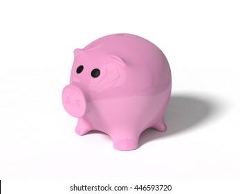 3d illustration of pig money box. isolated on white.