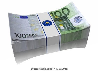 3D illustration. Pile of banknotes of 100 euro on a white background
