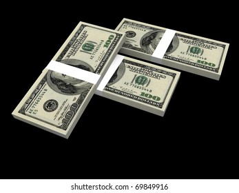 a 3d illustration of a pile of dollars