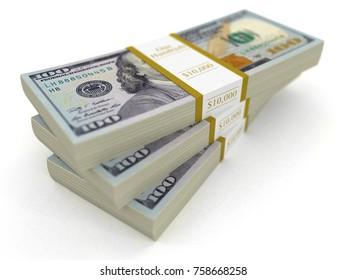 3d illustration. Pile of Dollars