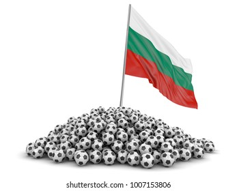 3d illustration. Pile of Soccer footballs and Bulgarian flag. Image with clipping path