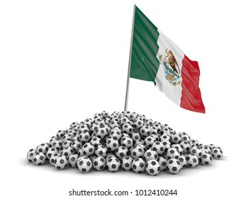 3d illustration. Pile of Soccer footballs and Mexican flag. Image with clipping path