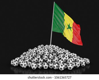 3d illustration. Pile of Soccer footballs and Senegal flag. Image with clipping path