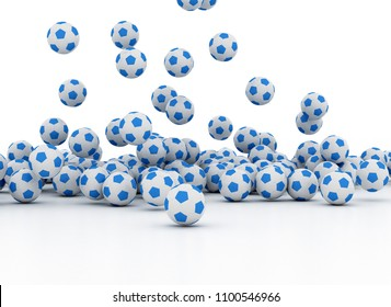 3d illustration. Pile of Soccer footballs isolated on white background